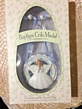 """New  BAPTIZED in CHRIST """" CRIB/CRADLE 3.5"""" Round BLUE  MEDAL""""    GIFT BOXED"""