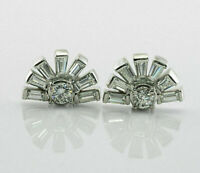 0.50 Ct Round Cut Diamond & Baguette Art Deco Stud Earrings 14k White Gold Over