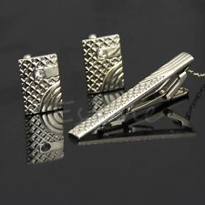 Vintage Silver Metal Necktie Tie Bar Clasp Clip Cufflinks Set Men Simple Gift
