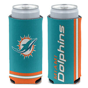 New 2-Sided Miami Dolphins Football League Licensed Slim Can Cooler- 1PC