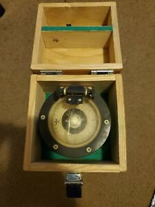 Weems & Plath, Illuminated Hand Held Ships Compass w Wood Case