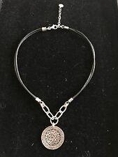 Silpada Sterling Silver Black Leather Necklace Sunburst N1711 Retired ISRAEL
