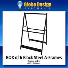 BOX of 6 BLACK Steel A Frame sign / Sandwich board / Aframe - 600x960mm