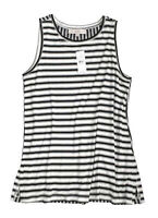 LOFT - Women's L - NWT$39 - Black & White Mix Striped Print Rayon Knit Tank Top