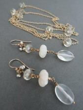 Vintage Carre Silver Gilt Citrine Pearl Earrings Necklace Set Danish Designer