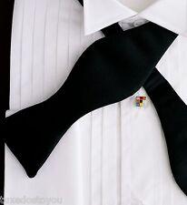 New Black Bow tie Satin Self Tie Tuxedo formal shirt Best Quality