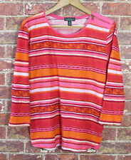 Ralph Lauren Jeans Co XL T-Shirt Blouse Top Pink Red Orange Zip Shoulder