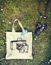 Nuevo Lona Eco Vintage Hipster Raro Retro de compras de bolso de la Cámara de Algodón tumblr