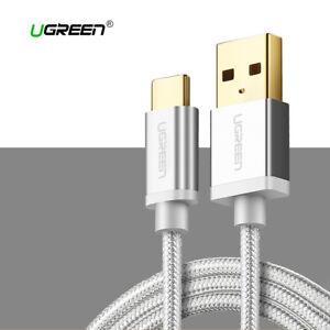 Cable USB a USB-C nylon carga rapida UGREEN 2.4A plata USB tipo C 1M 2M 3M