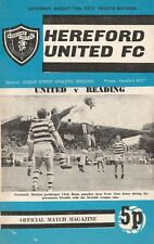 Hereford United v Reading, 19.8.1972, Division 4 - first home match in the FL