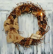 """18"""" Fall Primitive Country Grapevine Wreath W/Burlap & Pip Berries & Candle"""