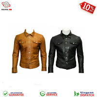 Men's Soft Black And Brown Leather Slim Fit Full Sleeve Button up Shirt