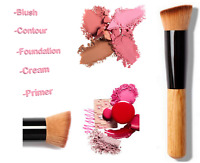 Makeup Brush Flat Angled Wood Liquid Foundation Powder Cream Contour Bronzer Kit
