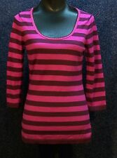 Adrienne Vittadini Women's Striped Wool Sweater Wine/Fuschia Stripe Medium