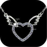 18K WHITE GOLD GP PURPLE SWAROVSKI CRYSTAL HEART WINGS PENDANT NECKLACE