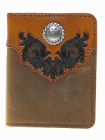 Nocona Mens Western Wallet Bi-fold Flipcase Boot Top Design Distress Brown