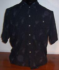 Pierre Cardin Men Boys Hawaiian Black Rayon Short Sleeve Shirt Pocket L