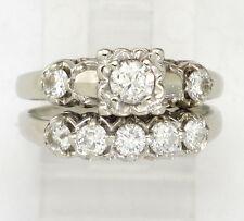 14k White Gold 2pc Antique Round Diamond Engagement & Wedding Ring Set .97ct