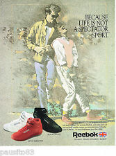 PUBLICITE ADVERTISING 065  1987  REEBOK   chaussures sport  pour fitness