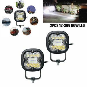 12-36V 60W Offroad/ Motorcycle Square LED Spot Light Headlight Driving Fog Lamp