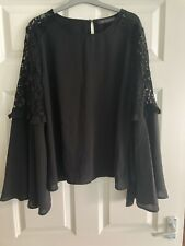 M&S Blouse Size 14 Black Lacy Long Sleeve