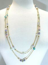 """TALBOTS DOUBLE LAYER SEMIPRECIOUS STONE NECKLACE 32"""" + 3"""" Extender"""