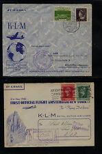 Netherlands   2  nice  KLM flight covers   nice cachets         KEL1205