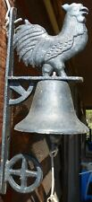 """Bell Cast Iron Rooster on top wheel on bottom Black 15"""" L 6 3/4"""" Wide home decor"""