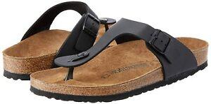 Birkenstock Gizeh Black Women Leather Birko-Flor Thong Sandal Shoe US 8.0 M (39)