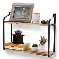 Wood Floating Display2-Tier Shelves Wall Mount Storage Bookshelf for Home Decor