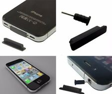 50x Apple iPhone 4,4 S, 4GS anti-polvere Spina Tappo Set Caricabatterie AUX NERO NUOVO CON SCATOLA