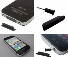 Apple iPhone 1,3G,3GS Anti-Dust Plug Stopper Set AUX Charger Black BNIB