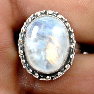 925 Sterling Silver Oval Cabochon Natural Rainbow Moonstone Ring Sz 4-12 RS-1060