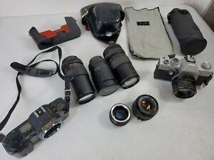 Vintage Lot Film Cameras Lenses & Accessories Canon Praktica Japan PLEASE READ