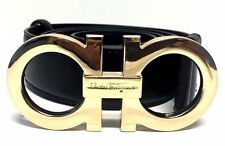 "Salvatore Ferragamo 42 "" Black Leather Gold Adjustable Belt Men Fashion Popular"