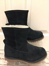 Women's Black Suede Timberlands Ankle Boots Uk4 EU37 Fleece Lined Anti Fatique