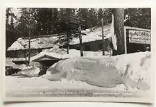 1950s CA RPPC Postcard Lake Tahoe Donner Summit Trailsyde Lodge Hwy 40 sign snow