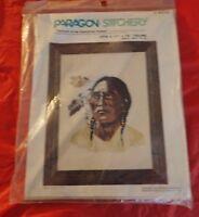 "Vintage Paragon Stitchery ""Portrait of an American Indian"" Needlepoint Kit"