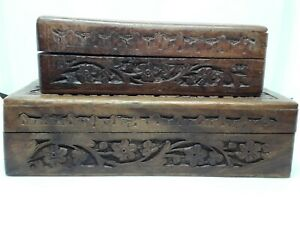 Pair of Carved Wooden Boxes – one small, one large