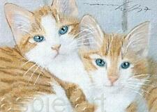 ACEO print limited edition ginger kitten twins cat by Anna Hoff