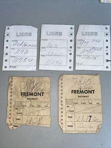 Vintage Drag Racing Time Slips ( 5 ) Lions & Fremont Drag Strips