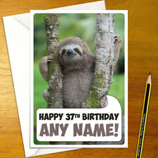 SLOTH IN A TREE Personalised Birthday Card - A5 wild sloths boy girl cute happy