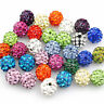 20Pcs Czech Crystal Rhinestones Pave Clay Round Disco Ball Spacer Beads Charms