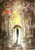 ACEO Fall rain umbrella night lights original painting sign watercolor art card