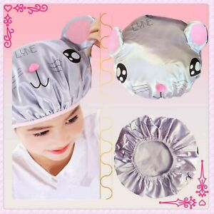 2 Layer Kids Waterproof Elastic Shower Bathing Hair Cap - Mouse Animal Character