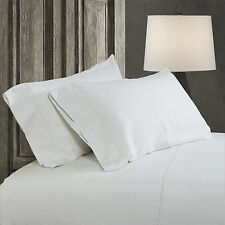 Simple&Opulence 100% Stone Washed Linen Embroidered thread Solid 2 Pillowcase