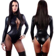 Sexy Women Bodysuit Faux Leather Sexy Lingerie Bandage Jumpsuit Clubwear Costume