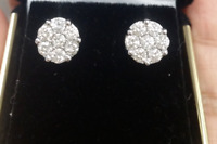Deal! 1.70ctw Genuine Cluster Round Diamond Halo Studs Earrings 14K Gold  9.5mm