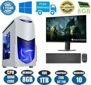 "ULTRA FAST Quad Core Gaming PC Tower Bundle 8GB 1TB HDD 19"" SCREEN"