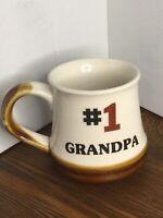 "Vintage Stoneware Drip Glaze Coffee Mug #1 GRANDPA Fathers Day Grandparent 4"" H"